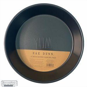 """Rae Dunn YUM 9"""" Round Baking Pan in Black"""